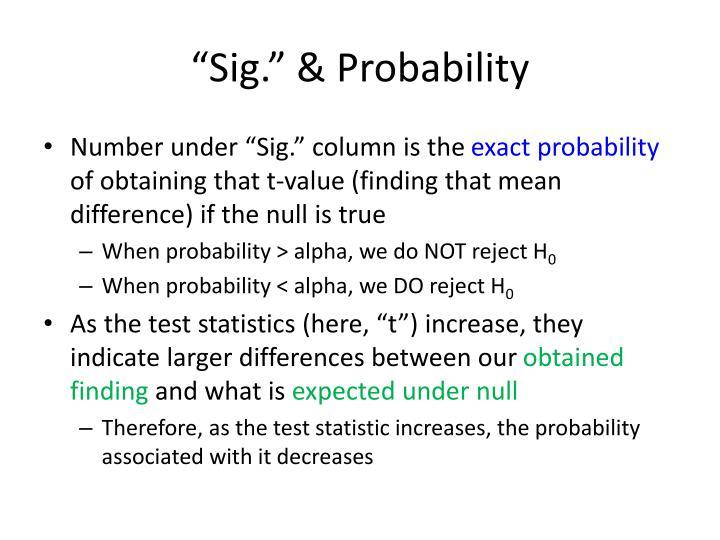 """""""Sig."""" & Probability"""