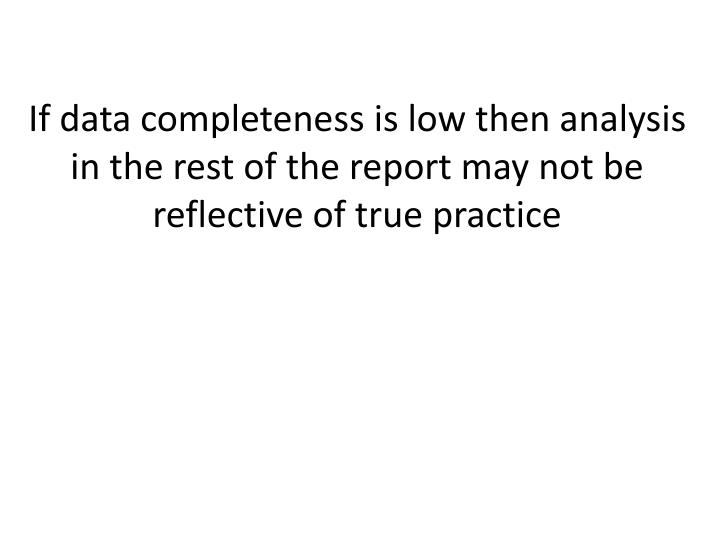 If data completeness is low then analysis in the rest of the report may not be reflective of true practice