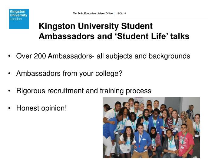 Kingston University Student Ambassadors and 'Student Life' talks