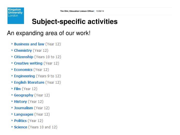 Subject-specific activities