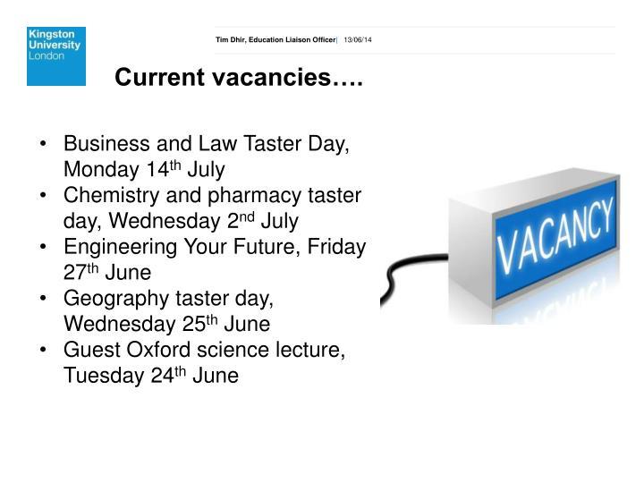 Current vacancies….