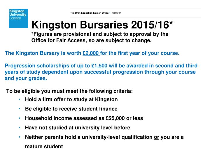 Kingston Bursaries 2015/16*