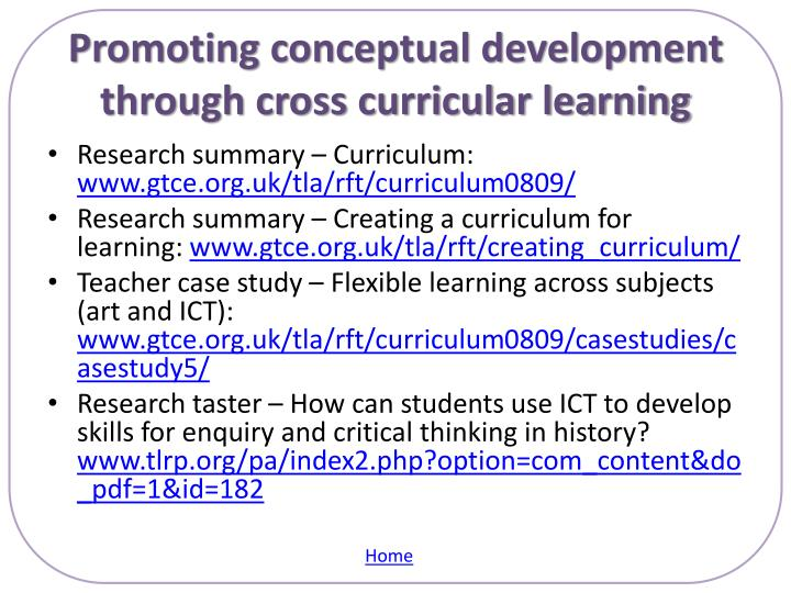 Promoting conceptual development through cross curricular learning