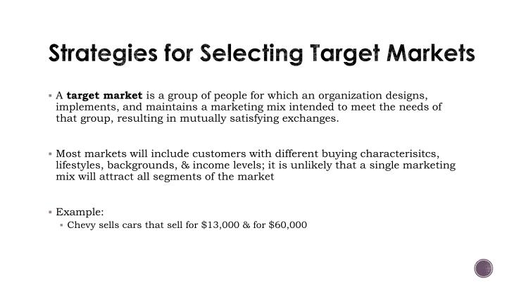 Strategies for Selecting Target Markets