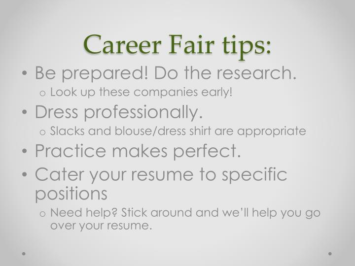 Career Fair tips: