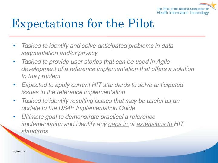 Expectations for the Pilot