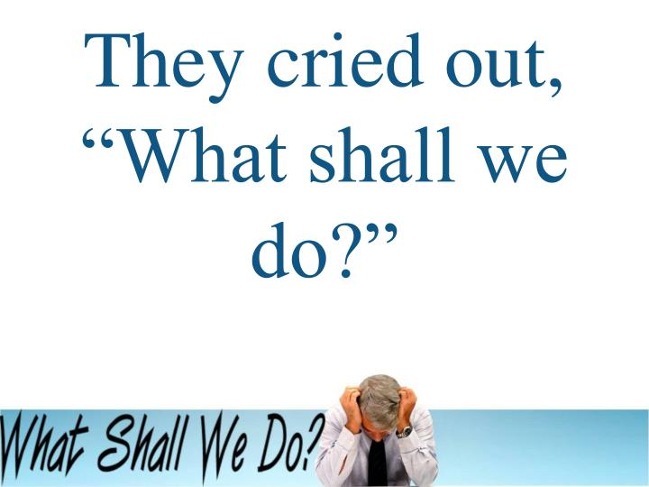 "They cried out, ""What shall we do?"""