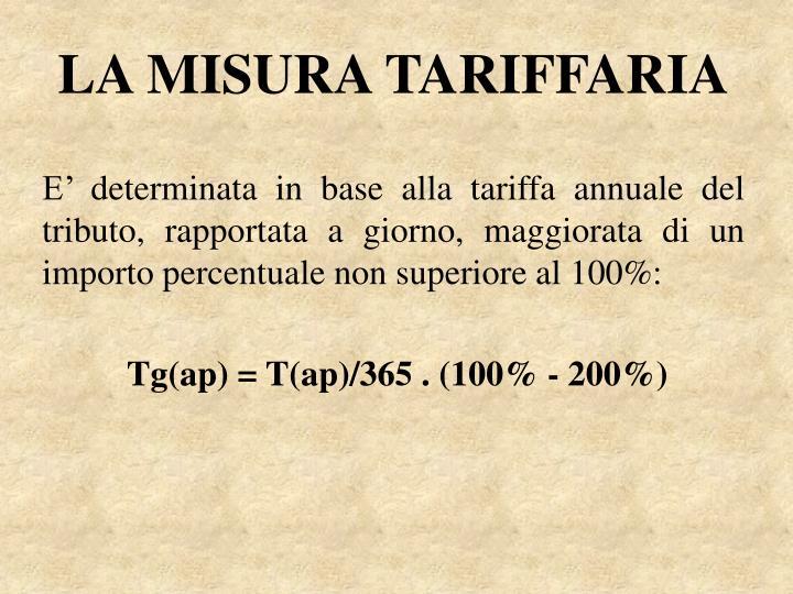 LA MISURA TARIFFARIA