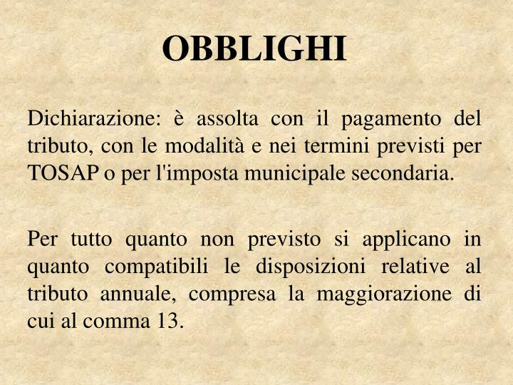 OBBLIGHI