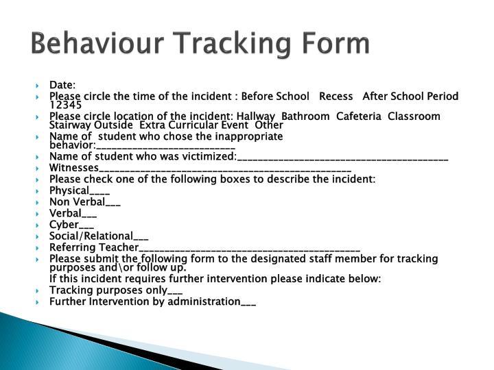 Behaviour Tracking Form