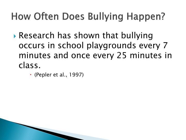 How Often Does Bullying Happen?