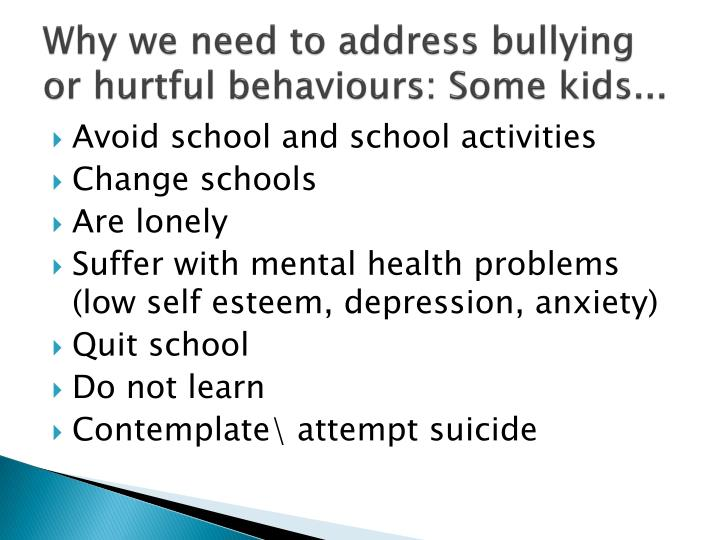 Why we need to address bullying or hurtful behaviours: Some kids...