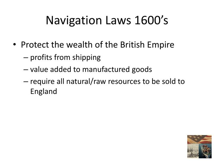 Navigation Laws 1600's