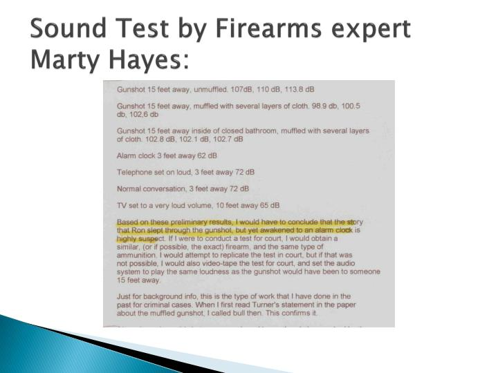 Sound Test by Firearms expert Marty Hayes: