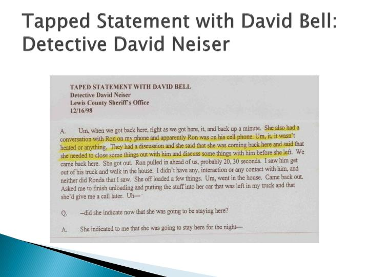 Tapped Statement with David Bell: Detective David Neiser