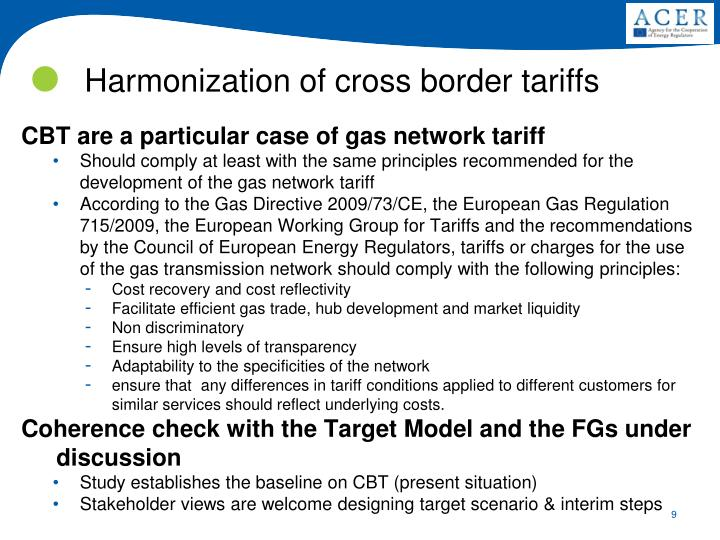 CBT are a particular case of gas network tariff
