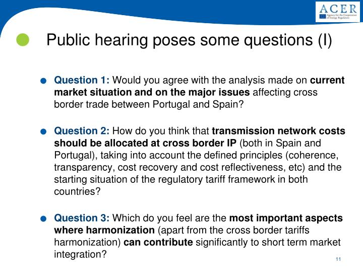 Public hearing poses some questions (I)