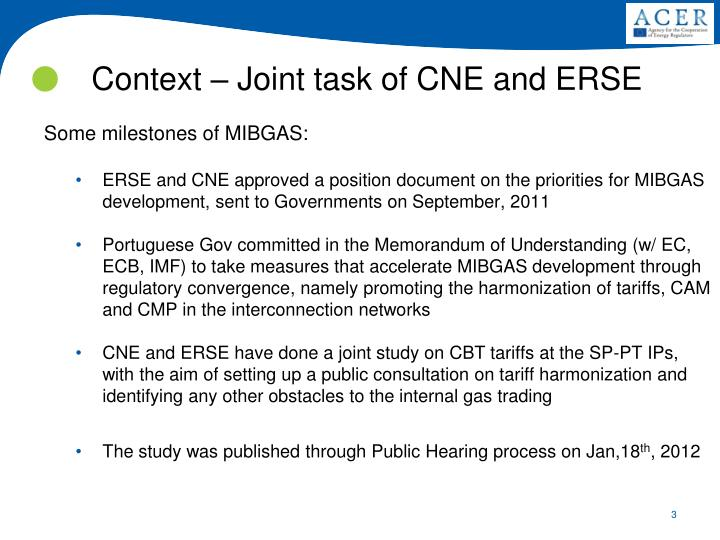 Context – Joint task of CNE and ERSE