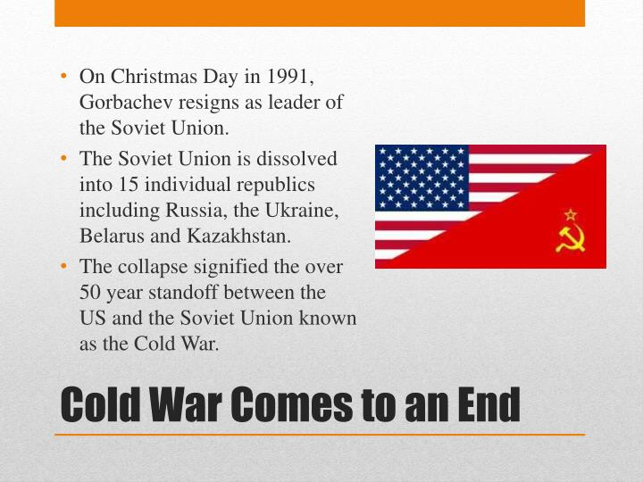 On Christmas Day in 1991, Gorbachev resigns as leader of the Soviet Union.