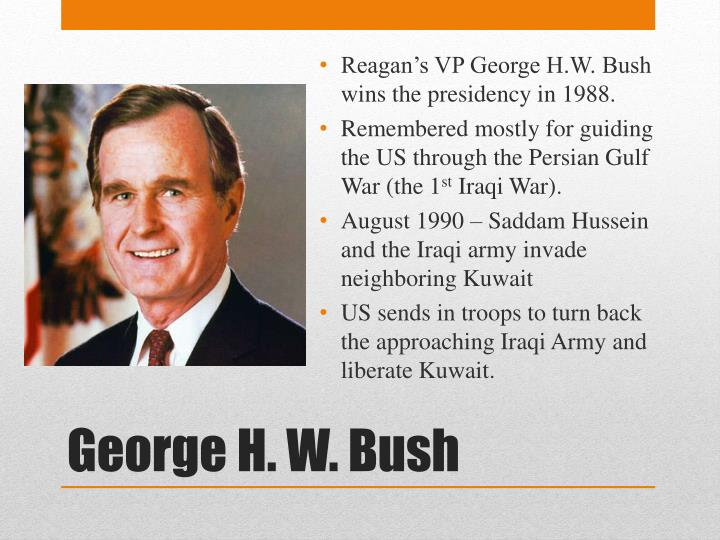 Reagan's VP George H.W. Bush wins the presidency in 1988.