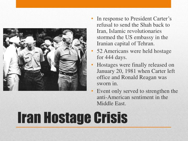 In response to President Carter's refusal to send the Shah back to Iran, Islamic revolutionaries stormed the US embassy in the Iranian capital of Tehran.