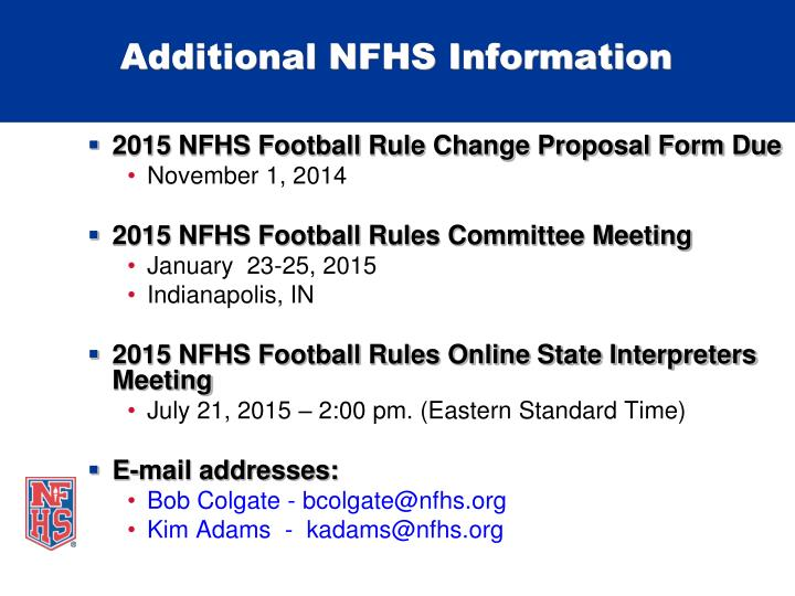 Additional NFHS Information