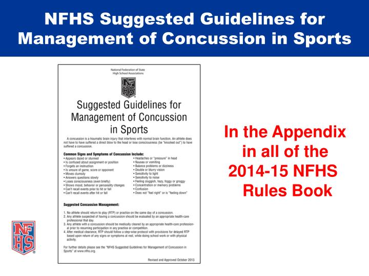 NFHS Suggested Guidelines for Management of Concussion in Sports