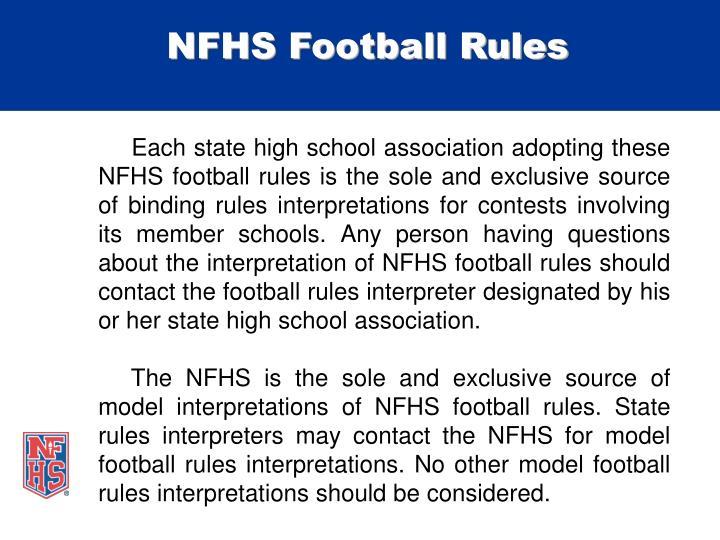 NFHS Football Rules