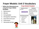 frayer models unit 3 vocabulary