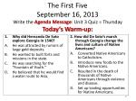 the first five september 16 2013 write the agenda message unit 3 quiz thursday today s warm up