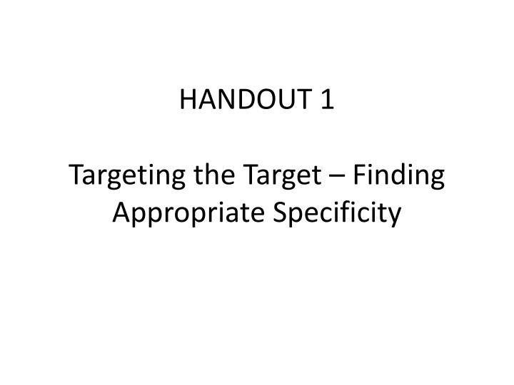 HANDOUT 1