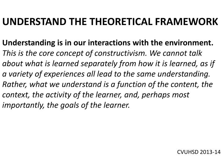 UNDERSTAND THE THEORETICAL FRAMEWORK