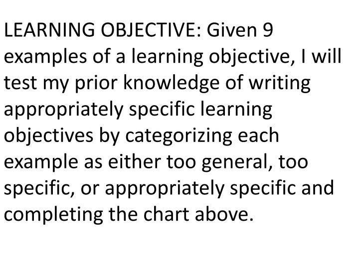 LEARNING OBJECTIVE: Given 9 examples of a learning objective, I will test my prior knowledge of writing appropriately specific learning objectives by categorizing each example as either too general, too specific, or appropriately specific and completing the chart above.