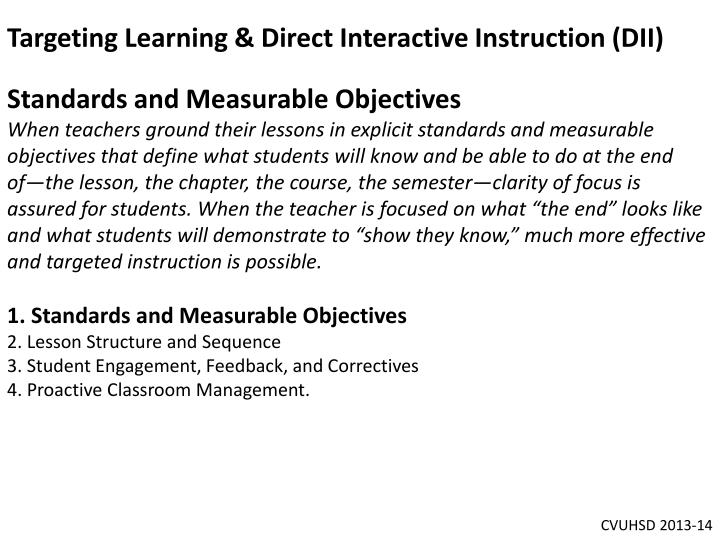 Targeting Learning & Direct Interactive Instruction (DII)