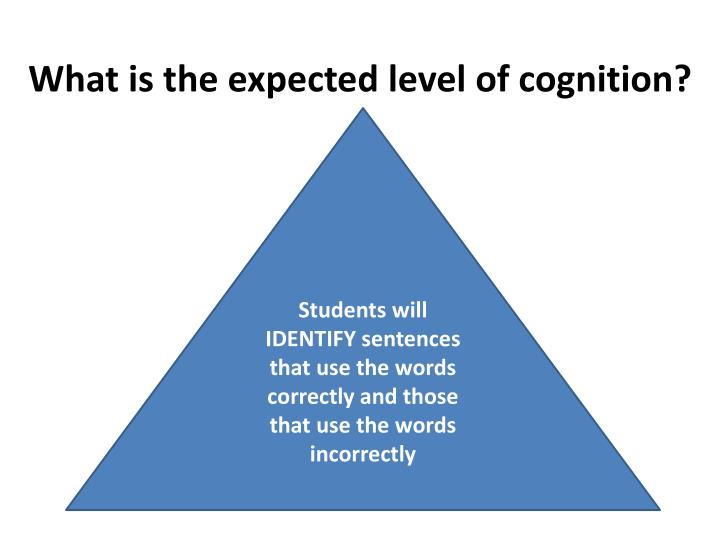What is the expected level of cognition?