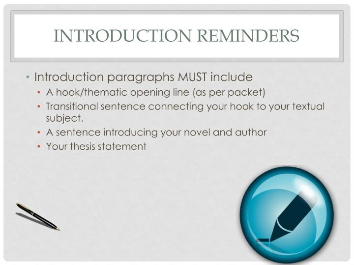Introduction Reminders