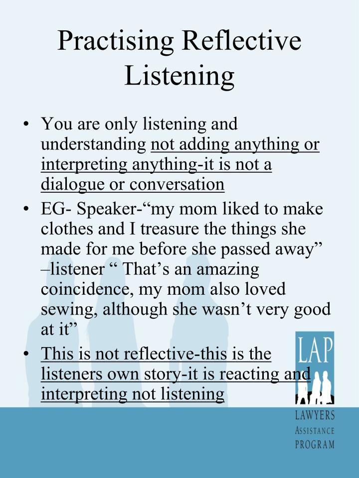 Practising Reflective Listening