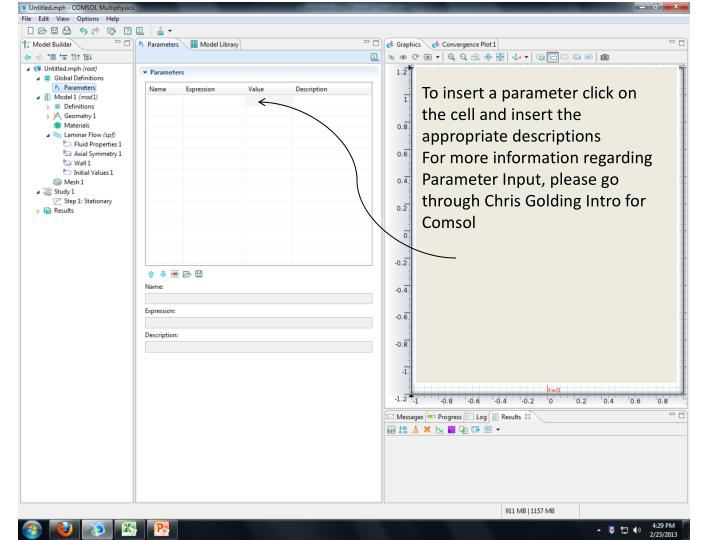 To insert a parameter click on the cell and insert the appropriate descriptions