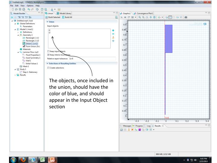 The objects, once included in the union, should have the color of blue, and should appear in the Input Object section