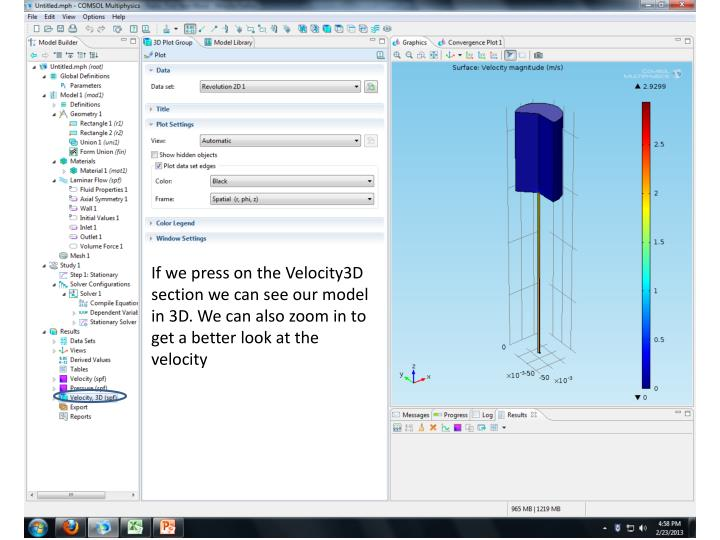 If we press on the Velocity3D section we can see our model in 3D. We can also zoom in to get a better look at the velocity