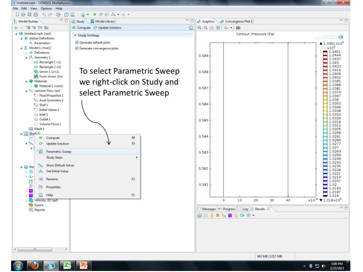 To select Parametric Sweep we right-click on Study and select Parametric Sweep