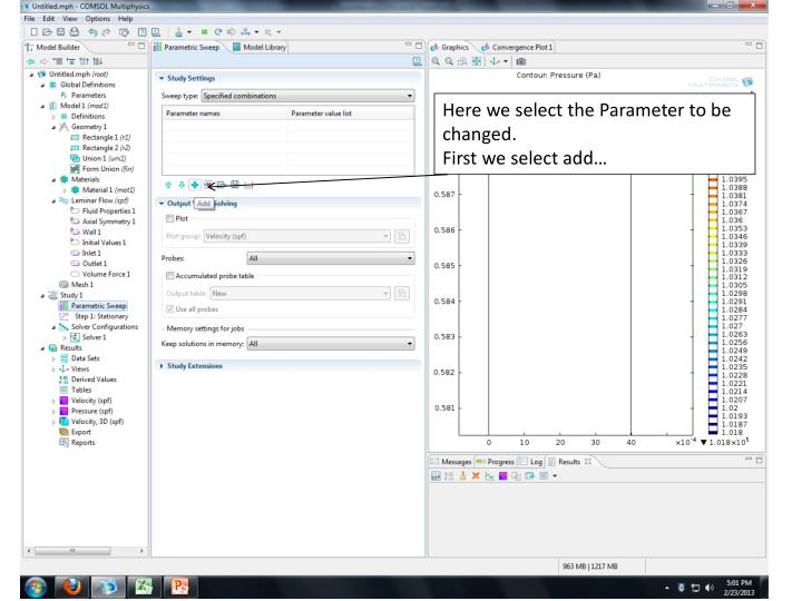 Here we select the Parameter to be changed.