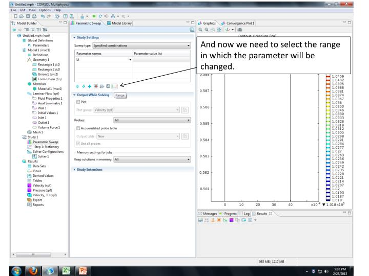 And now we need to select the range in which the parameter will be changed.