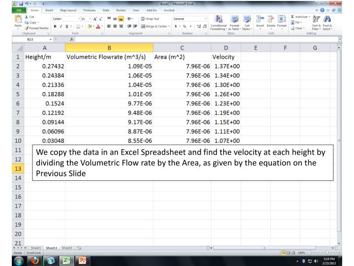 We copy the data in an Excel Spreadsheet and find the velocity at each height by dividing the Volumetric Flow rate by the Area, as given by the equation on the Previous Slide