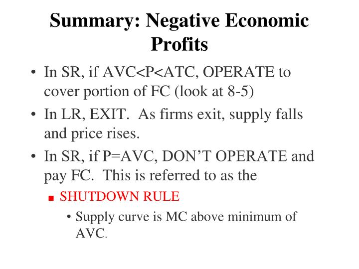 Summary: Negative Economic Profits
