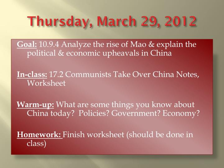 Thursday march 29 2012