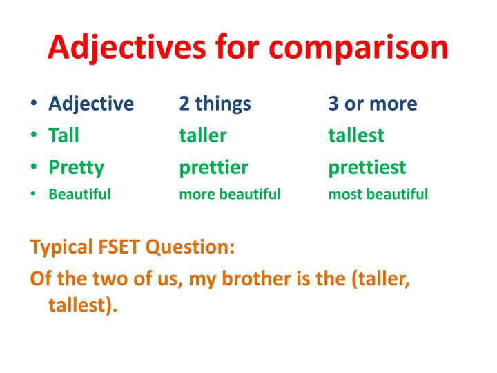 Adjectives for comparison