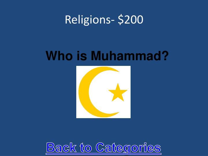 Religions- $200