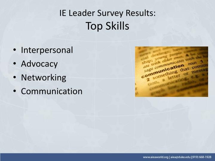 IE Leader Survey Results: