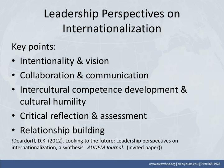 Leadership Perspectives on Internationalization